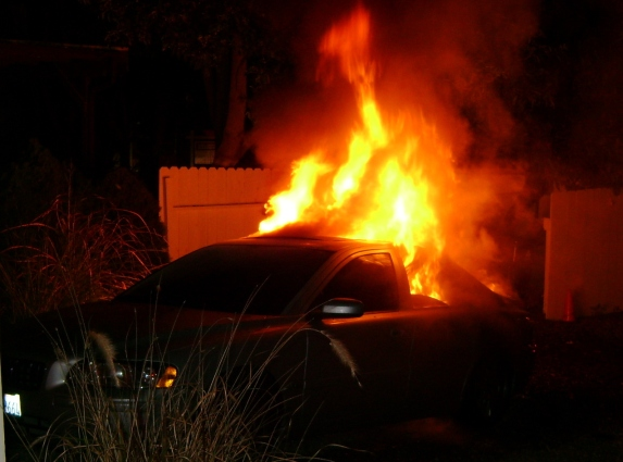 Car arson at Professor Jentsch's house. The Animal Liberation Brigade would claim responsibility for the attack 2 days later.